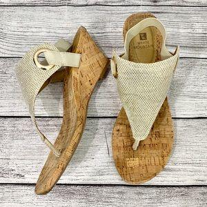 White Mountain Shoes - White Mountain Cork Wedge Thong Sandals